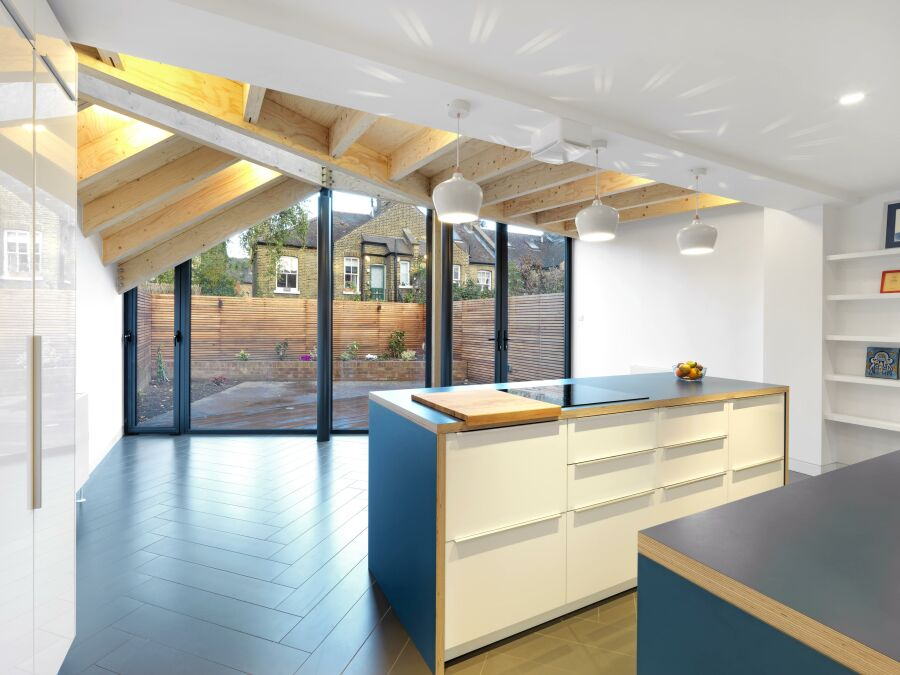 A laminated plywood kitchen with a Kerto plywood roof structure.
